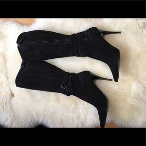Burberry tall black suede boots